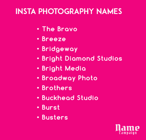 creative photography names for Instagram