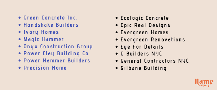 construction company names list