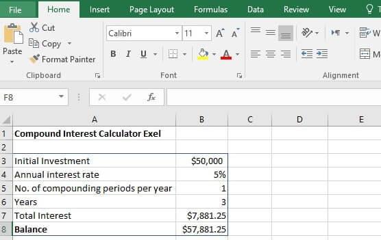 Compound interest formula excel