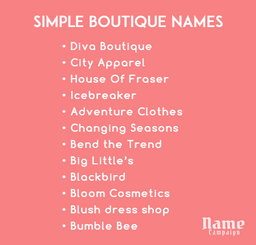 clothing store names for your boutique