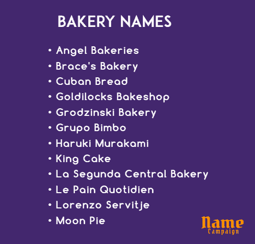 bakery names ideas for baking business