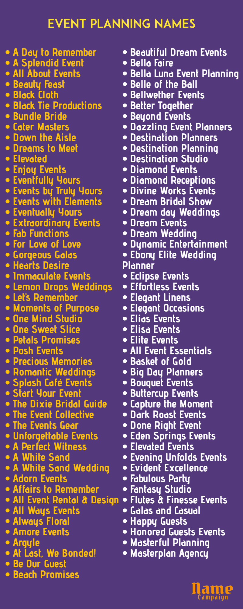 event names: event planning business names