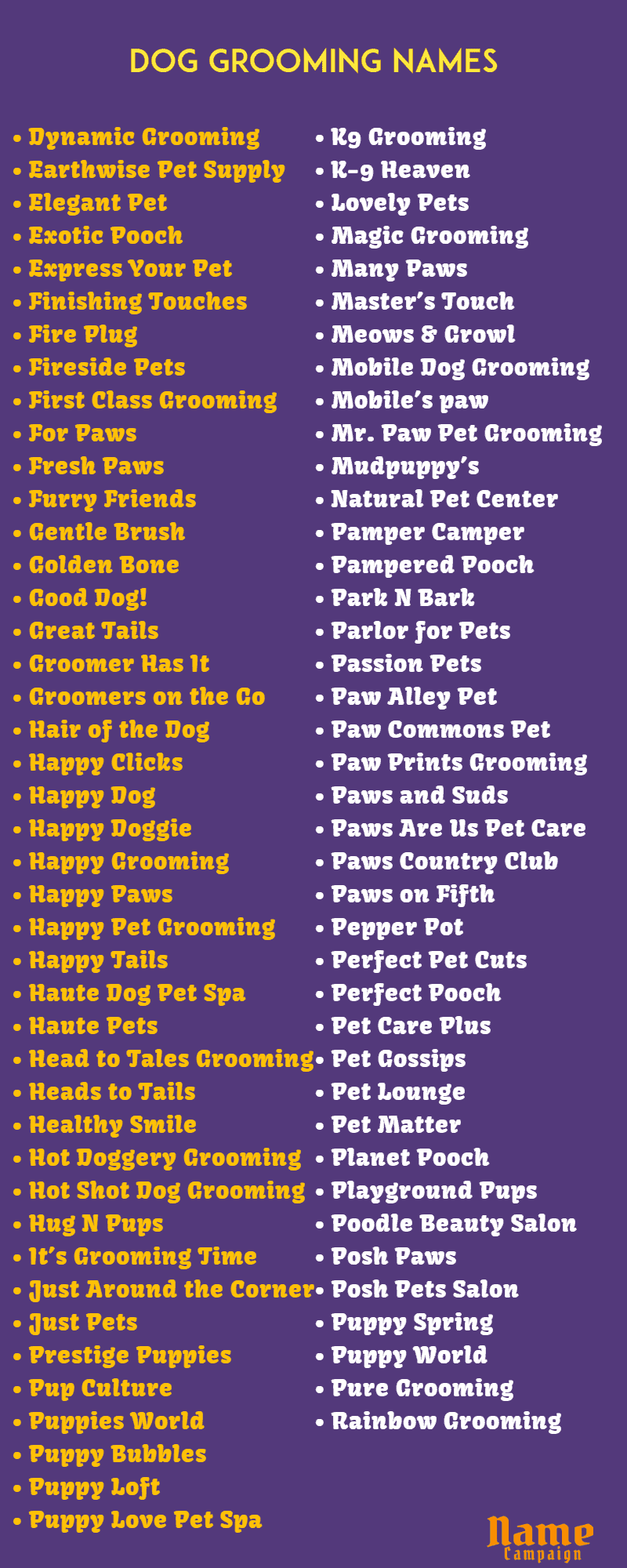 dog grooming names for creative dog groomer