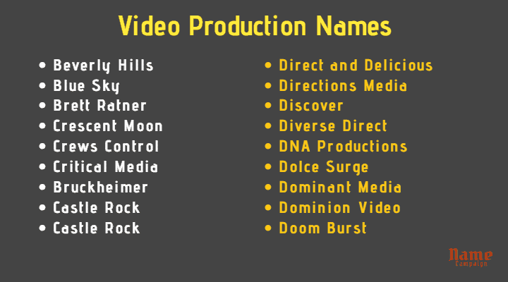 Video Production Names
