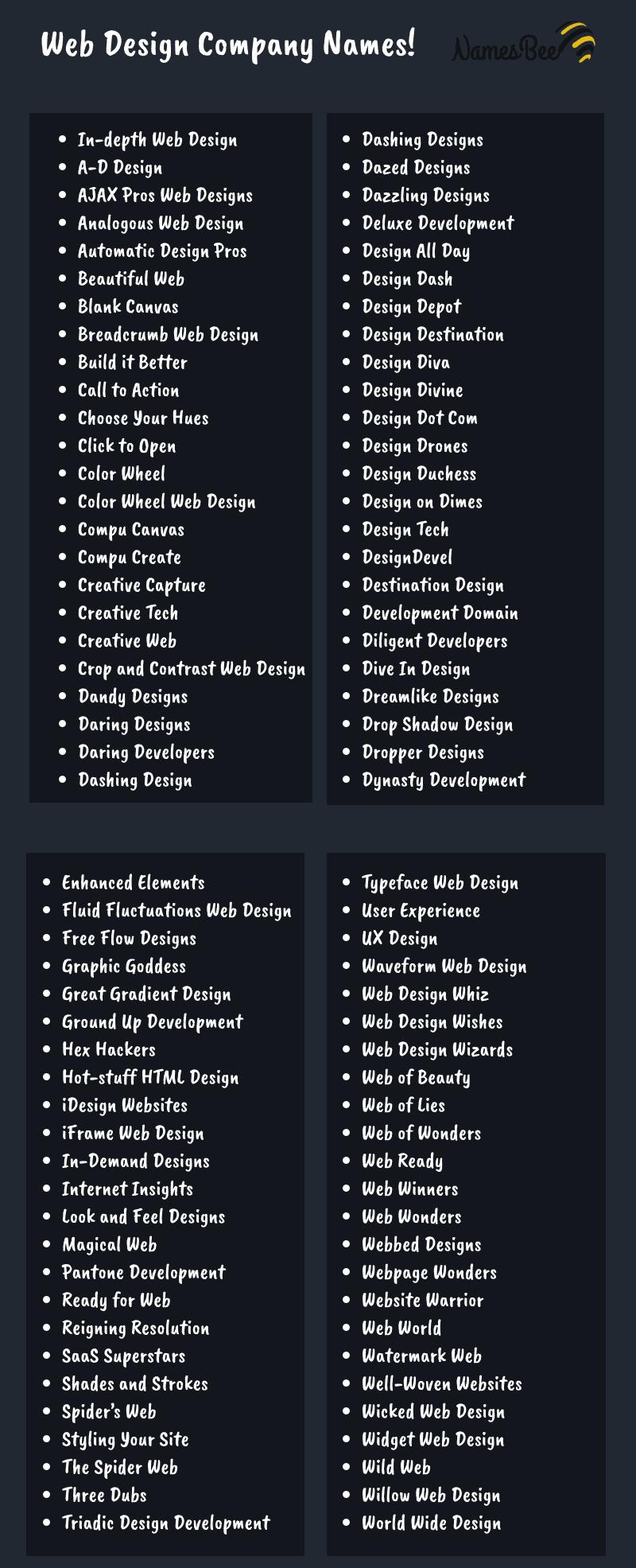 200 Web Development Company Name Ideas