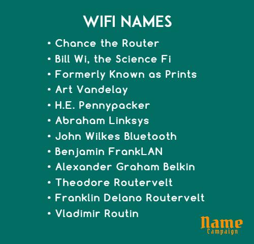 wifi names ideas