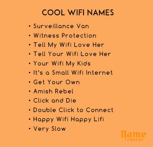 wifi name ideas