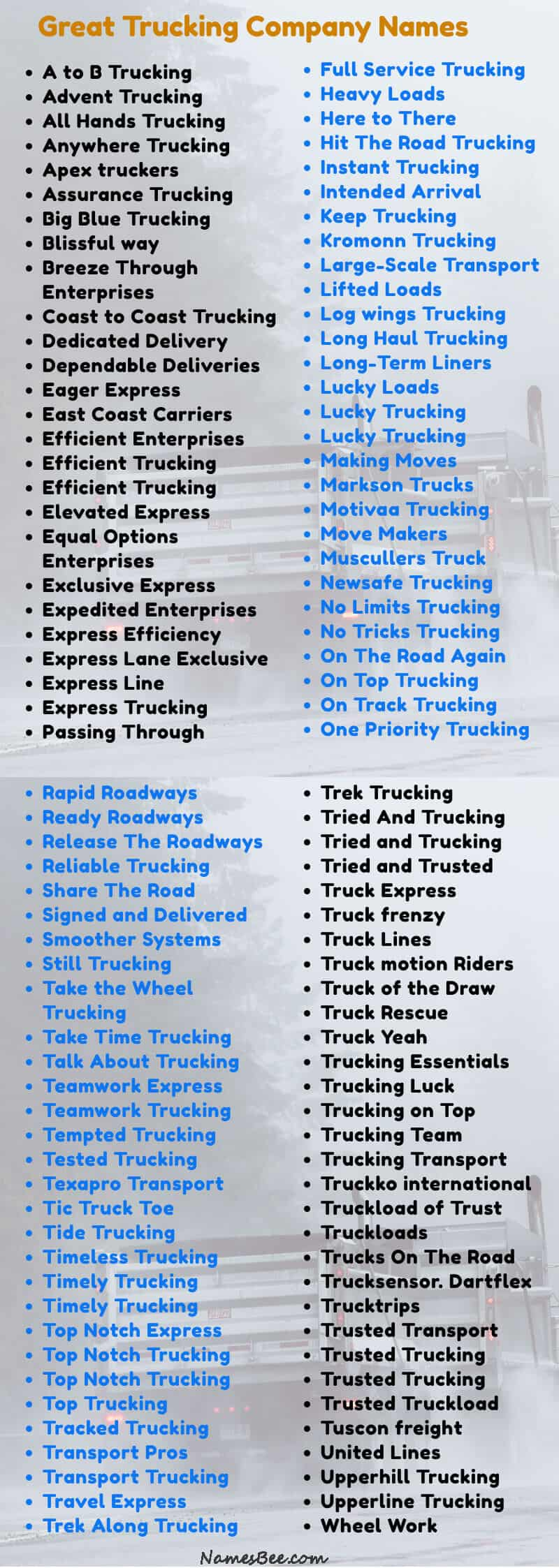These are the trucking company names available