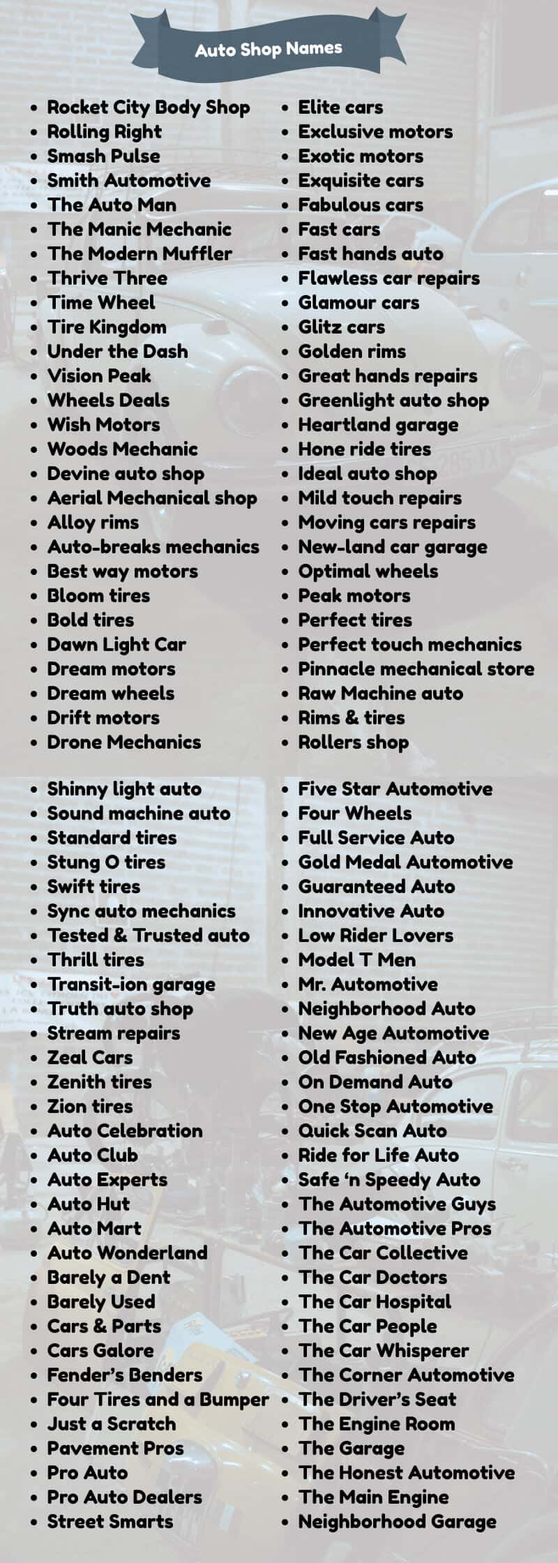 creative auto body shop names