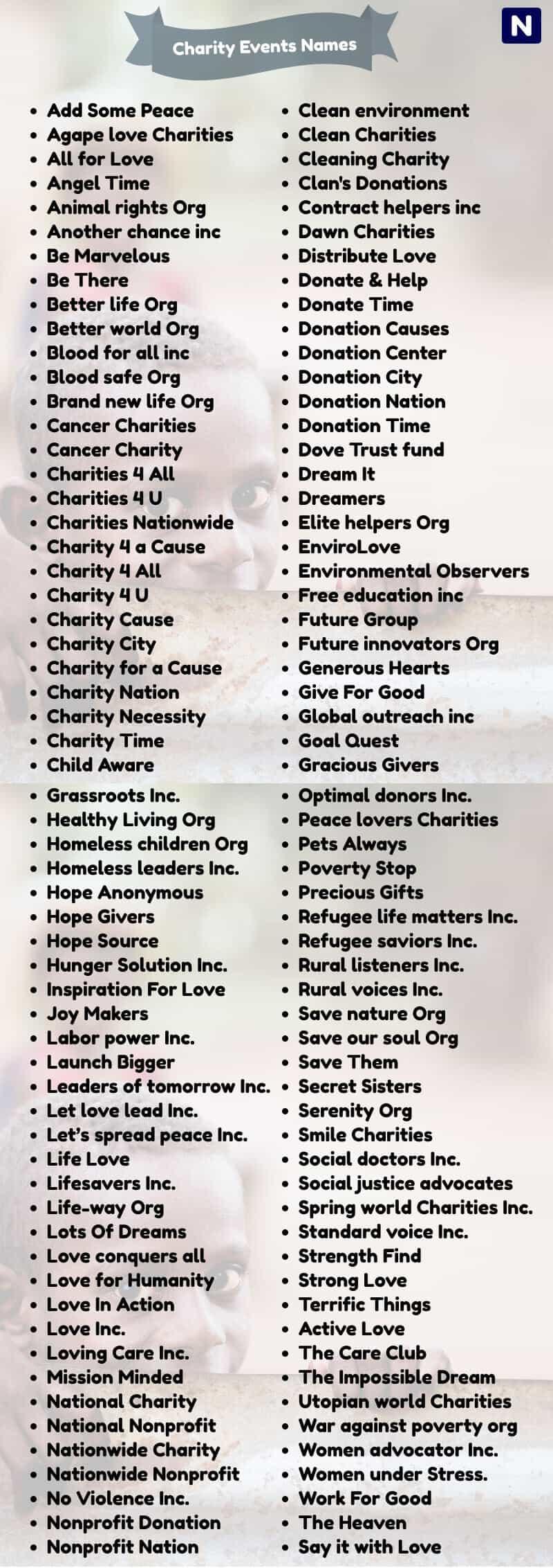 donation drive names