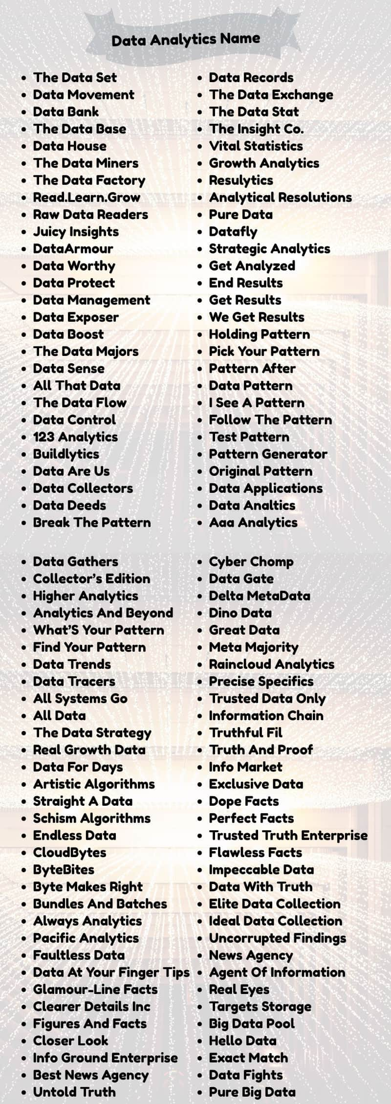 Data Analytics Team Names: List of ideas for names