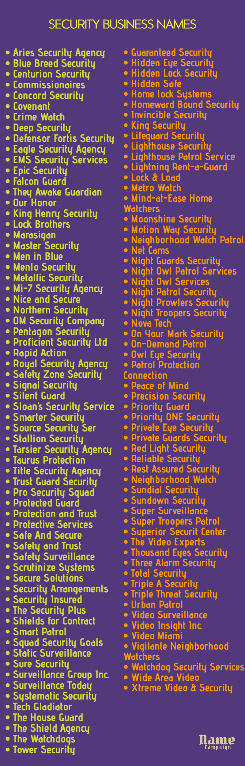 security names: security company names list