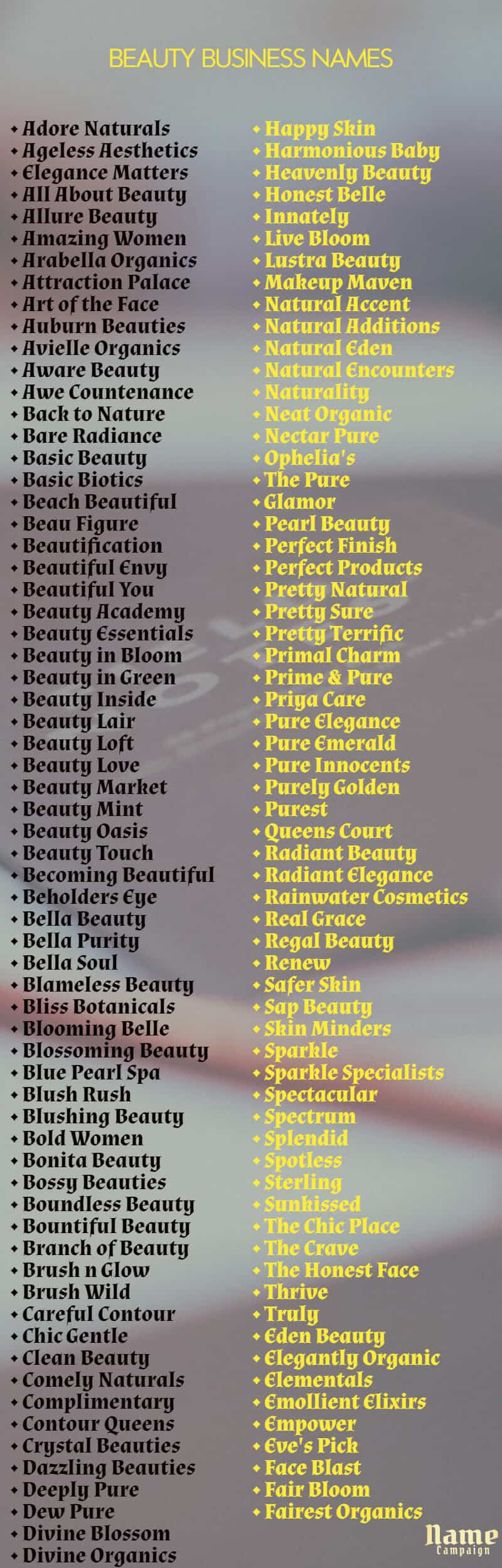 Beauty Business Names Ideas