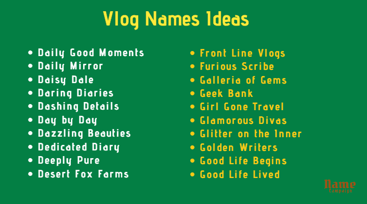 Vlog Names Ideas