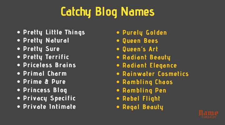 catchy blog names ideas
