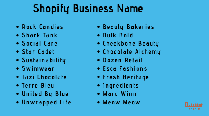 Some good Shopify business names