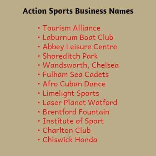 Action Sports Club Names
