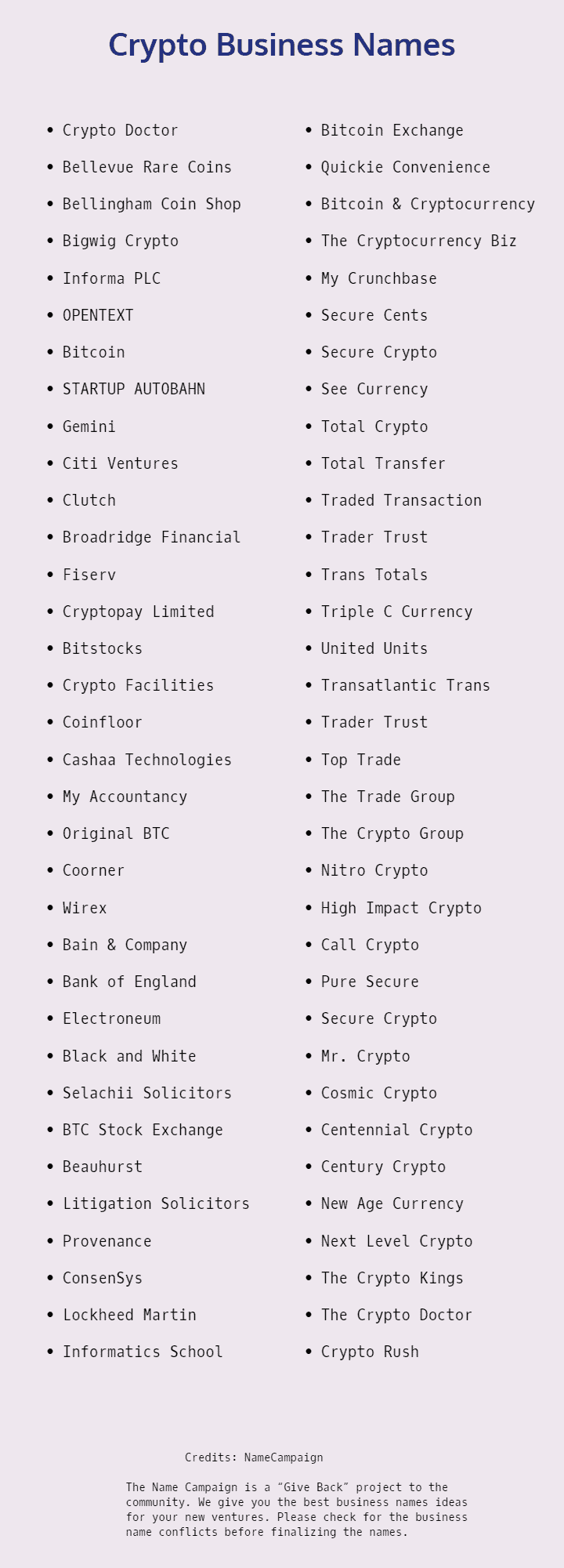 cryptocurrency name ideas