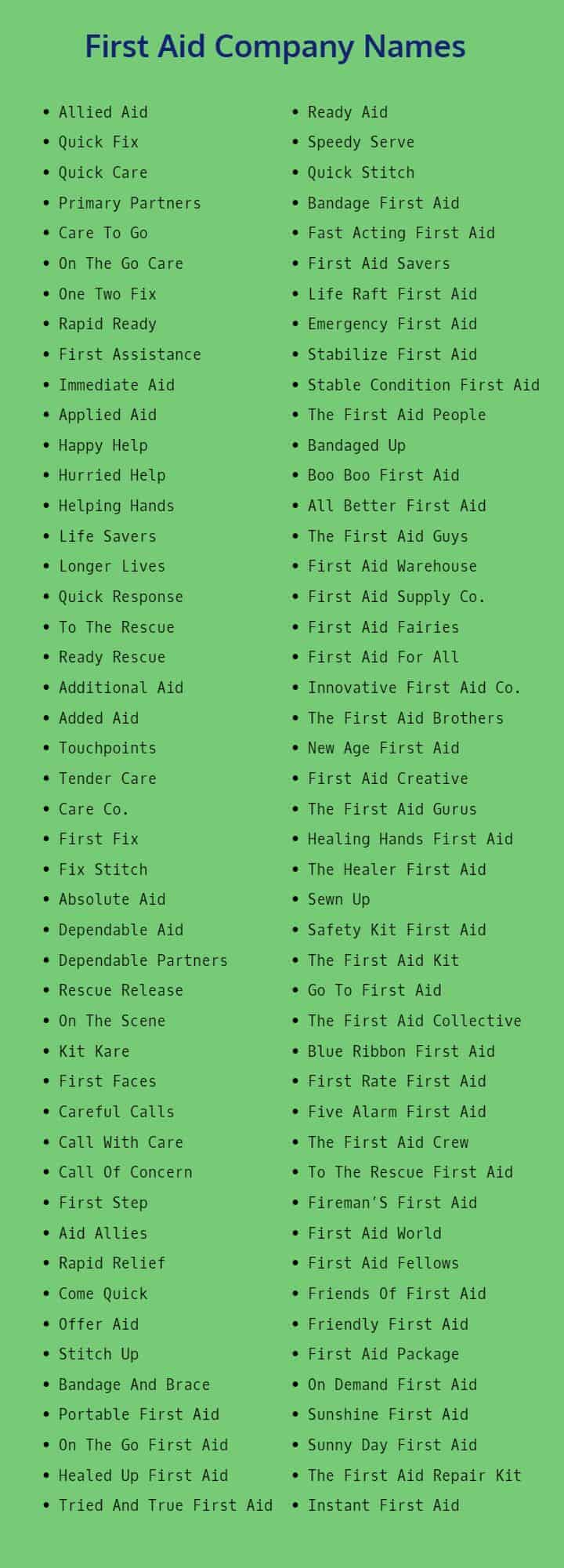 First Aid Company Names