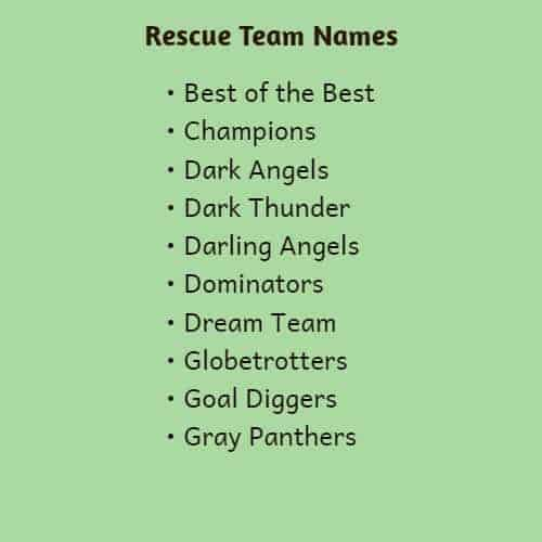Rescue Team Names