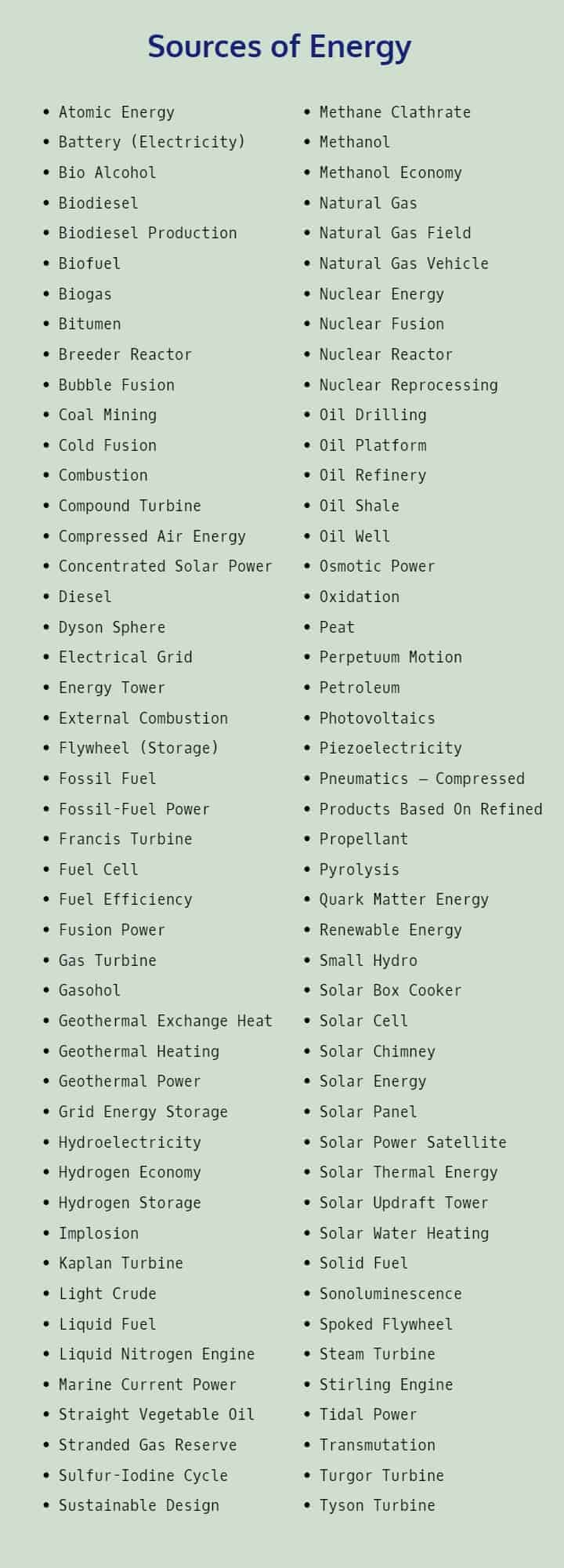 The best sources of energy