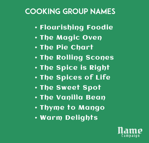 Here are some tips for naming your cooking class or business.