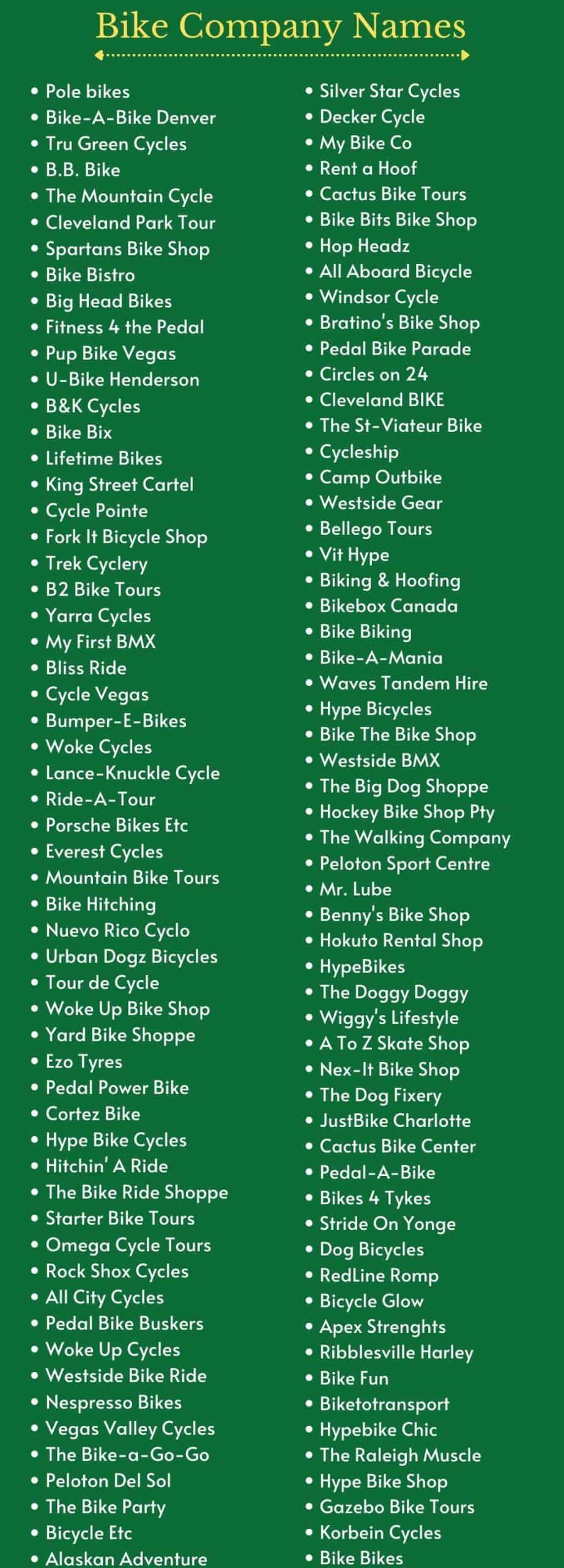 Bike Shop Names and Catchy Bike Company Names