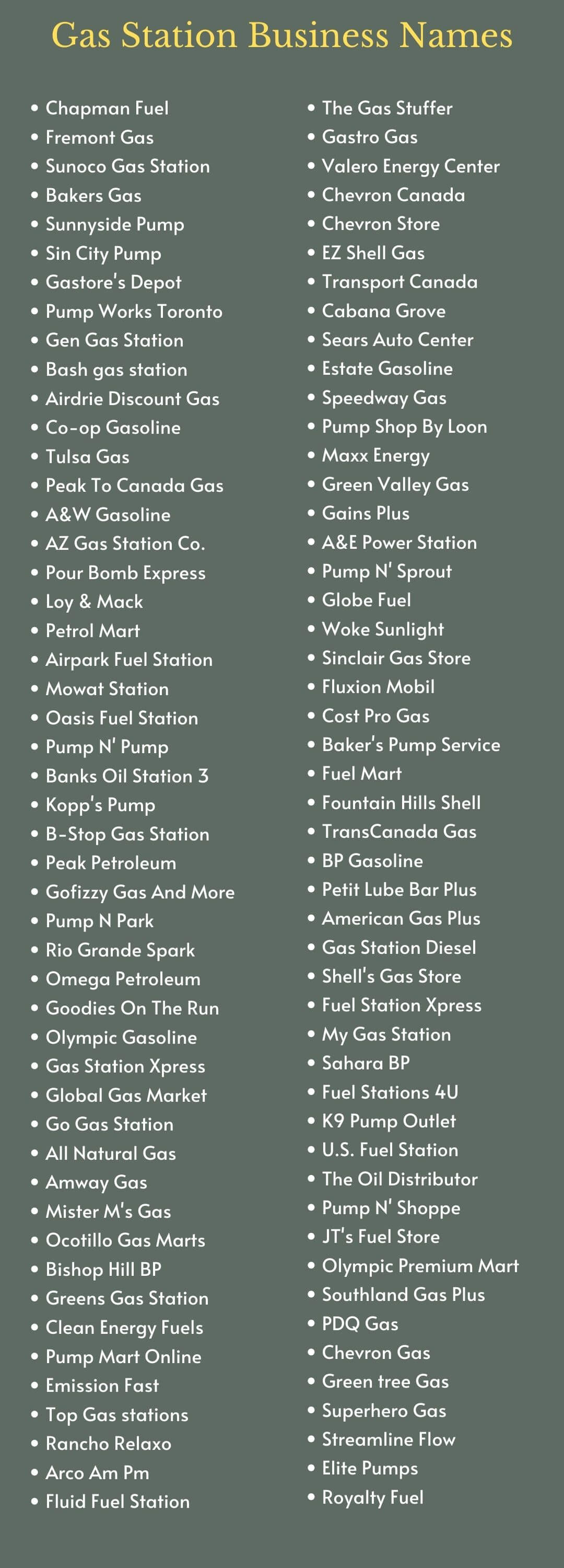 Gas Station Business Names