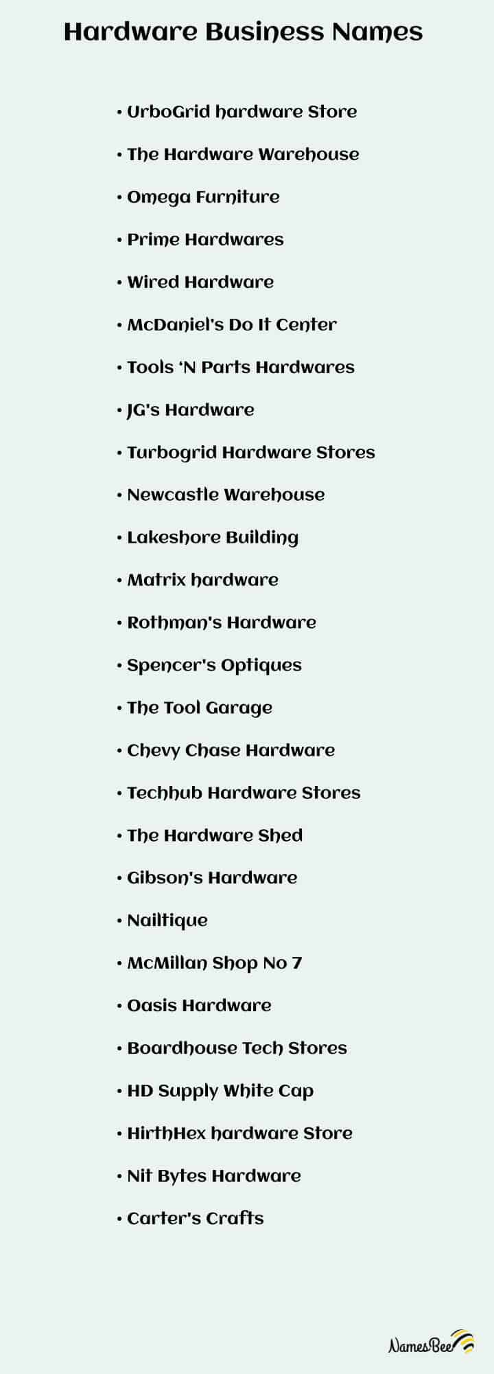 hardware store name list