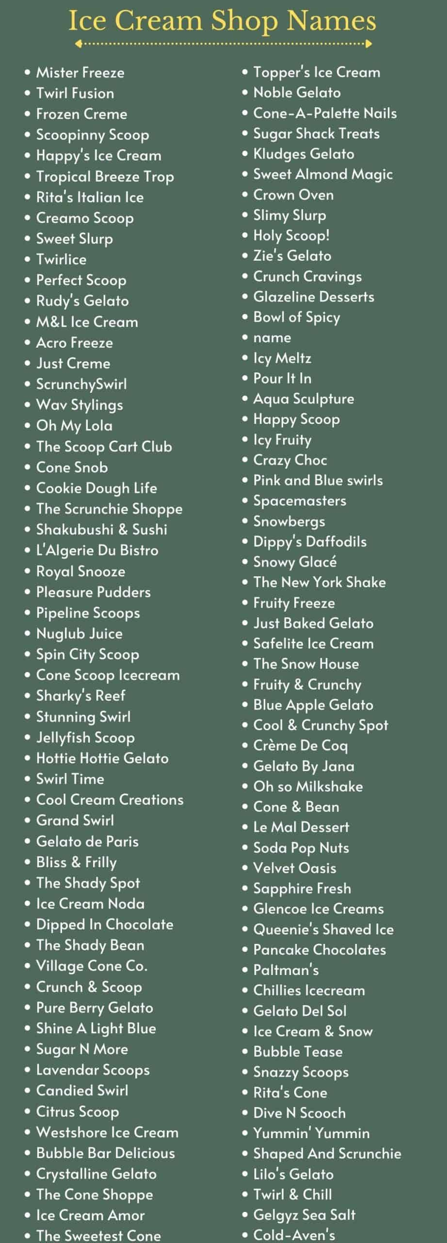 Ice Cream Shop Name Ideas and Suggestions