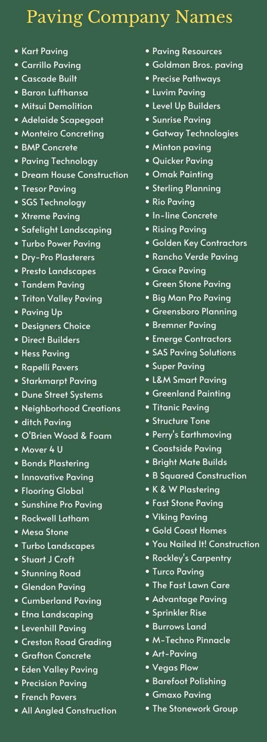 Paving Company Names