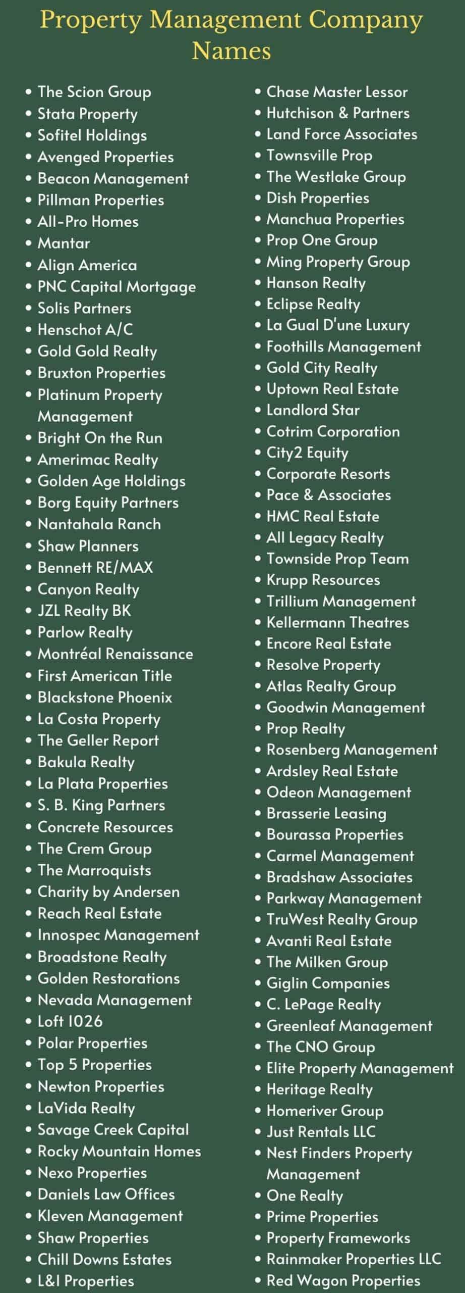 Property Management Company Names