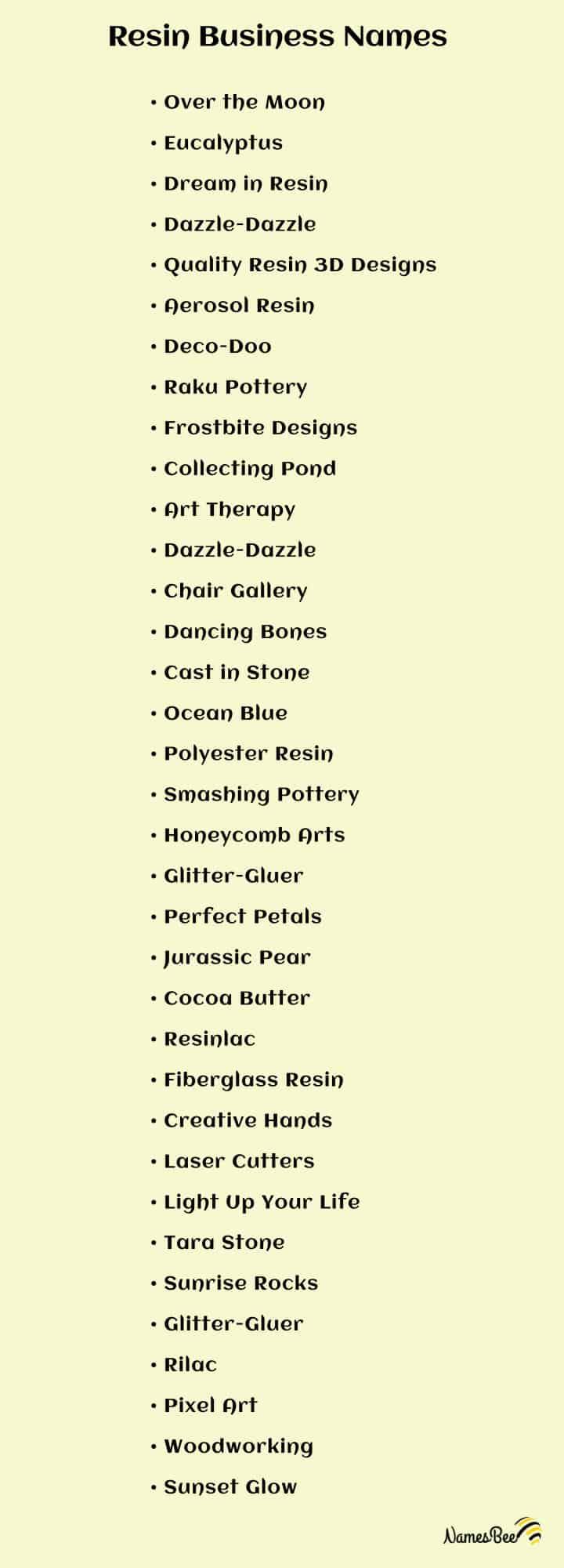 resin business names list