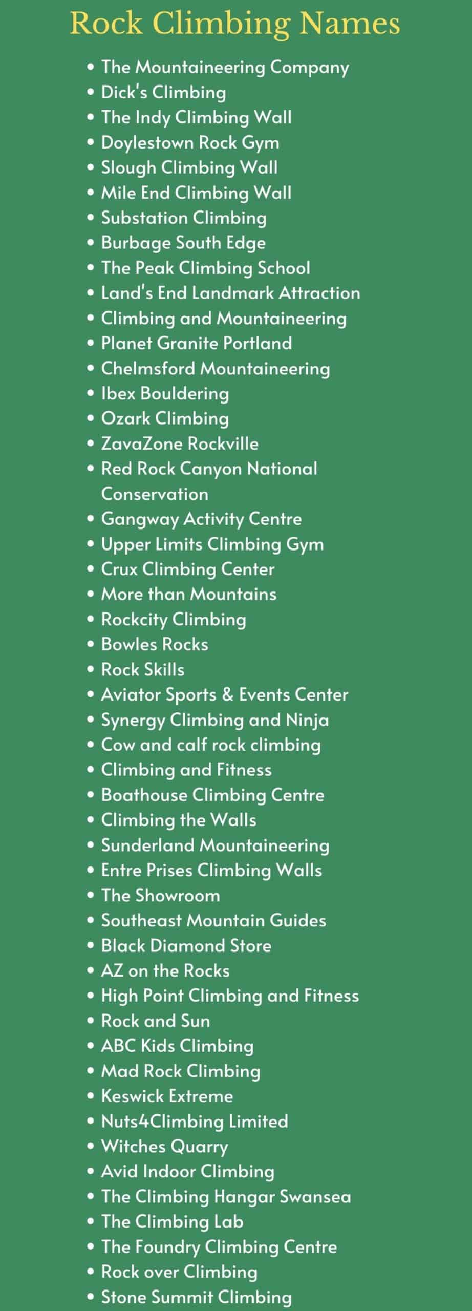 Rock Climbing Names and Catchy Climbing Team Names