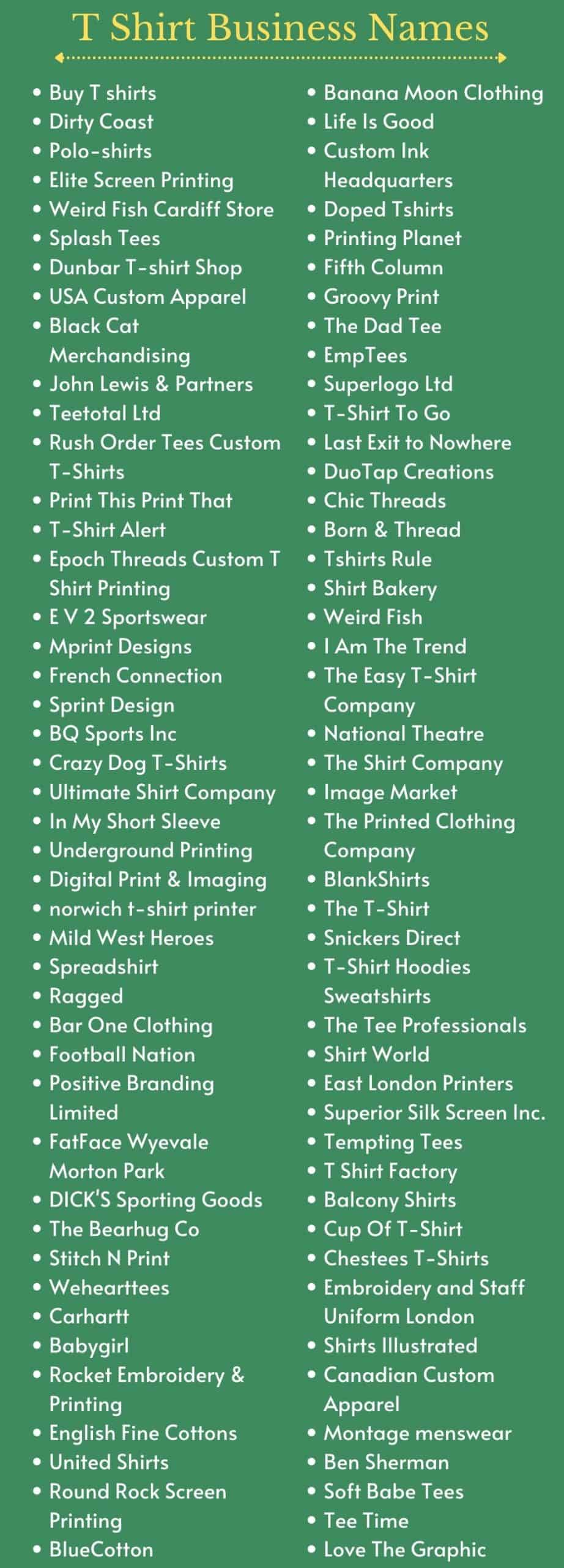 T Shirt Business Names and T Shirt Company Name Ideas