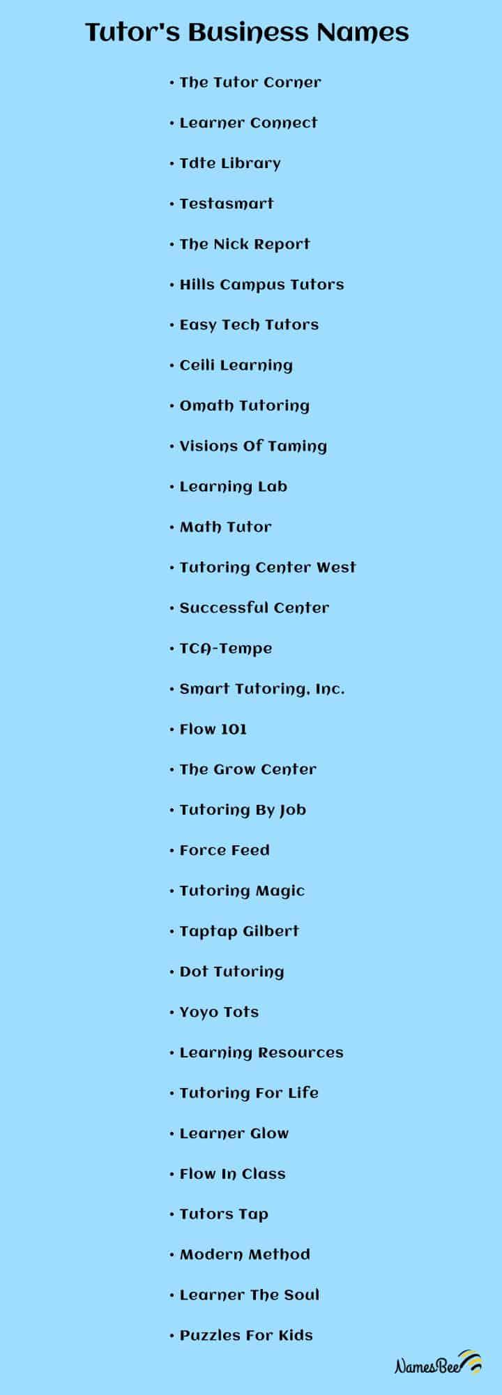 tutoring company names ideas