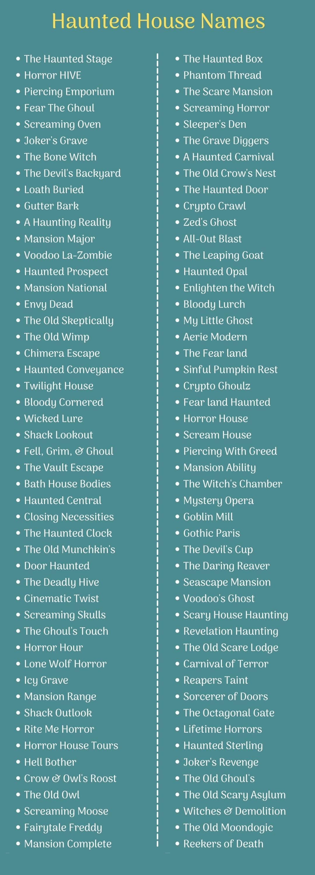Haunted House Names: Infographic