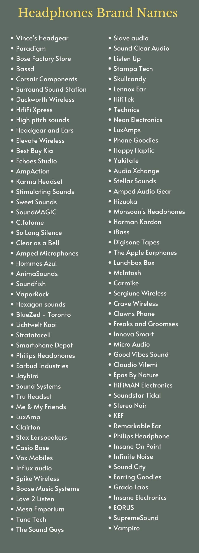 Headphones Brand Names