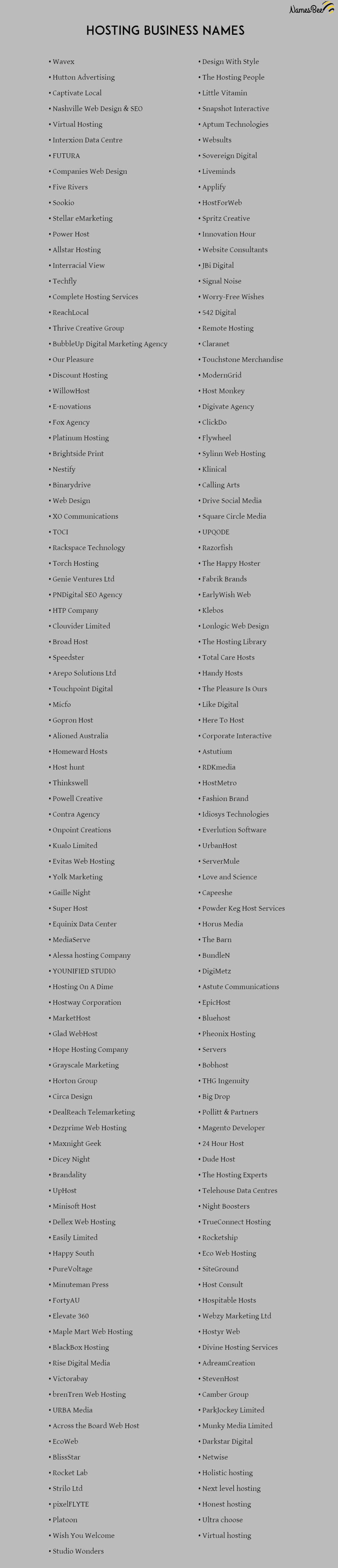 hosting company names ideas