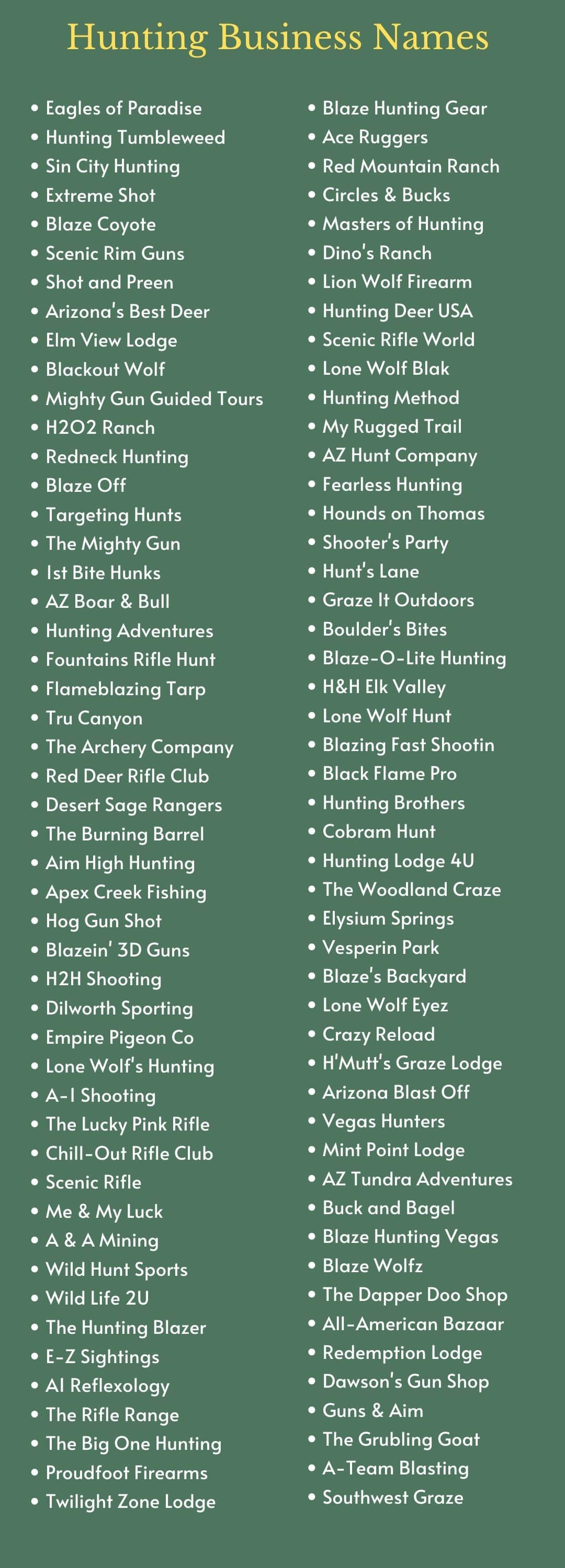 Hunting Business Names