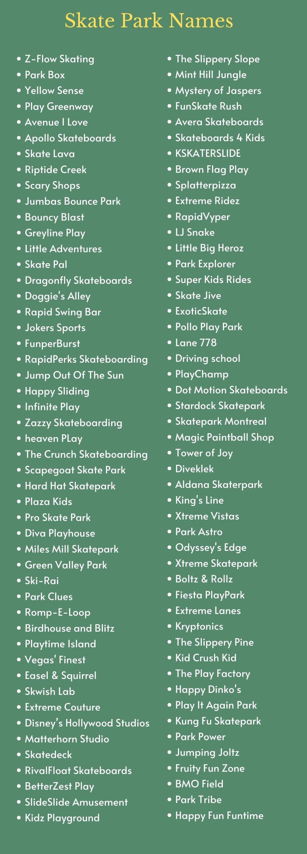 Skate Park Names