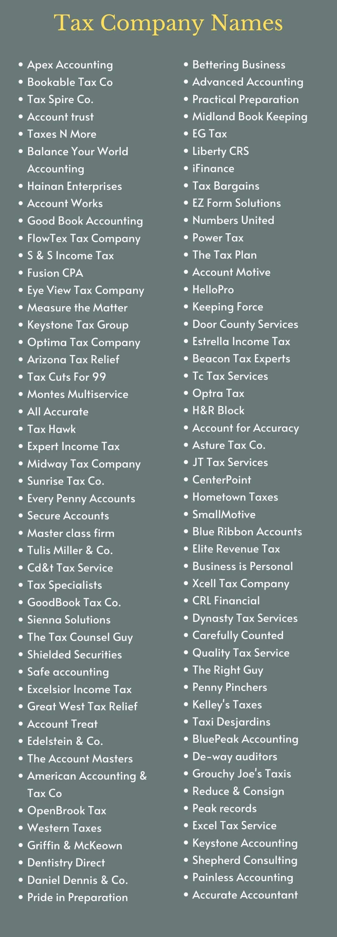 Tax Company Names: infographic