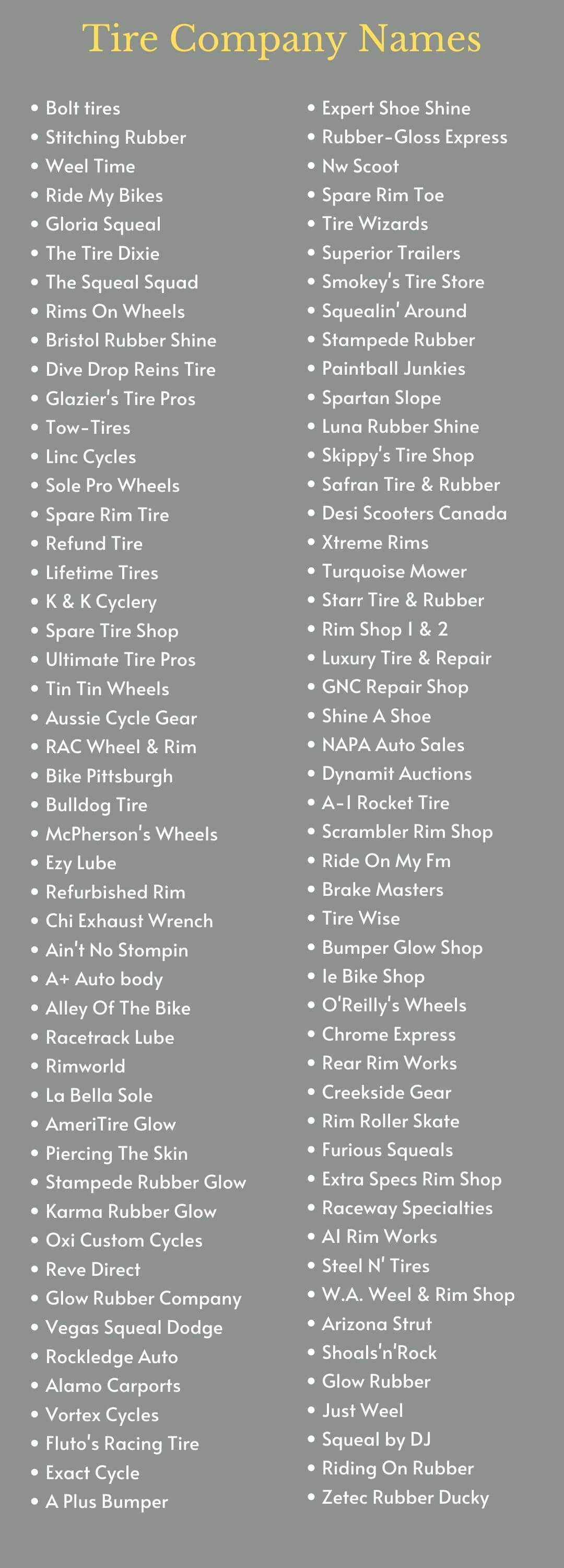 Tire Company Names: Infographic