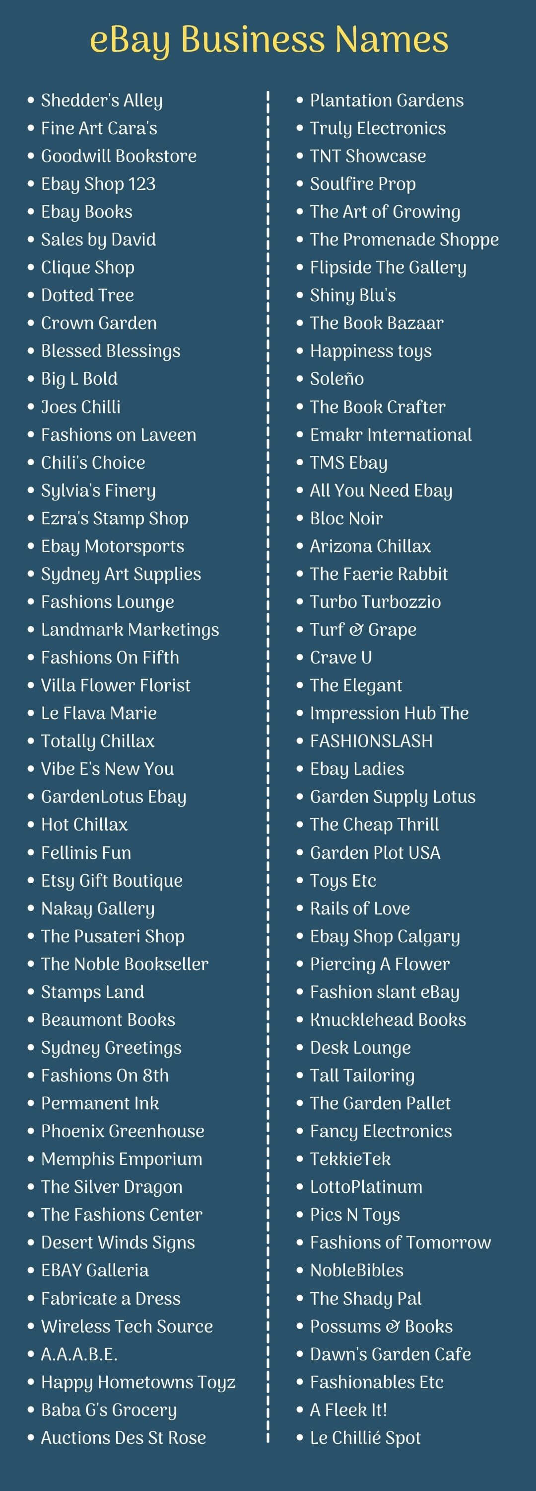eBay Business Names: Infographic