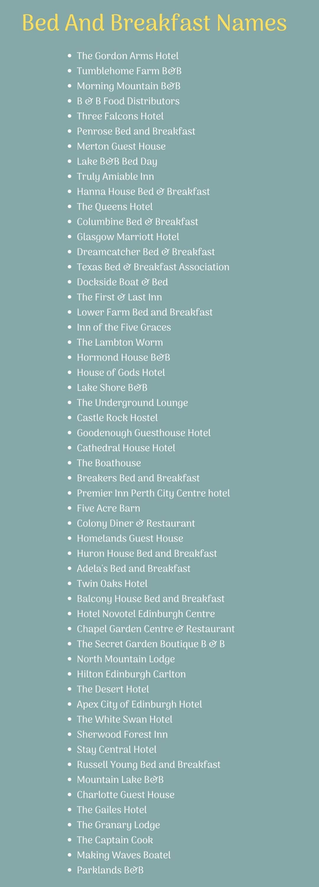 Bed And Breakfast Names ideas