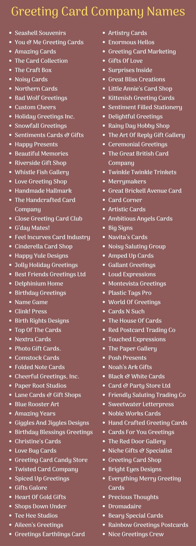 Greeting Card Company Names Ideas
